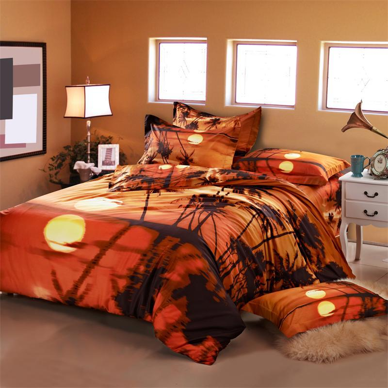 3D Oil Painting Sunset Palm Tree Bedding Sets Queen Size ...