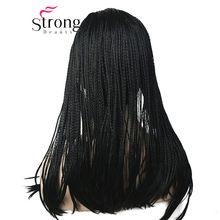 StrongBeauty длинный серый с темными корнями Омбре Плетеный 3/4 оголовье полный синтетический парик коробка косички парик покрытие парики цвета н...(Китай)