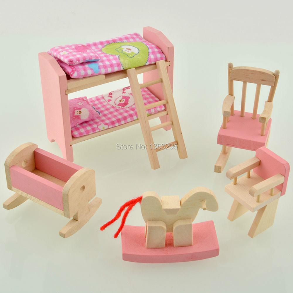 Girls Kids Childrens Wooden Nursery Bedroom Furniture Toy: DIY Wooden Dollhouse Furnitures Toy Kids Pink Miniatures