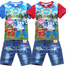 Hot New 2015 Summer POLI ROBOCAR Children Boys Clothing Sets Baby Kids Suitst Shirt Jeans Shorts Pants 100% Cotton Clothes Sets