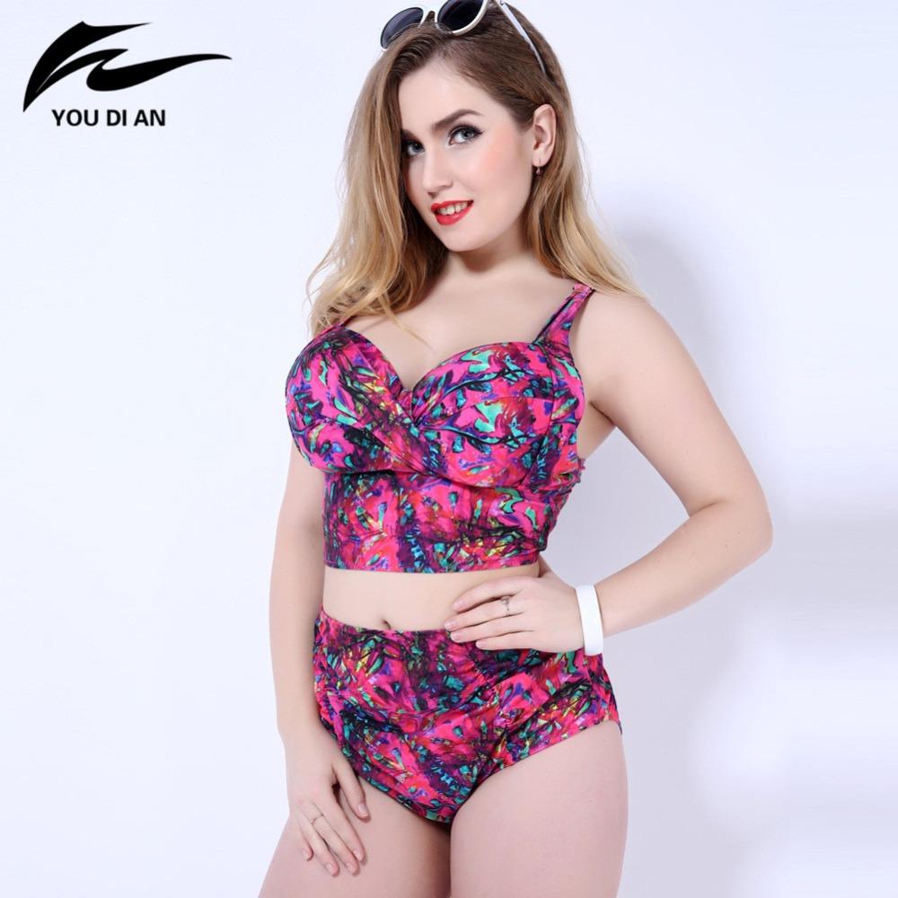 1669285b28 big bust high waist printed bikinis 2016 women plus size swimwear Women  Swimsuit push up Biquini Brazilian Bikini bathing suit