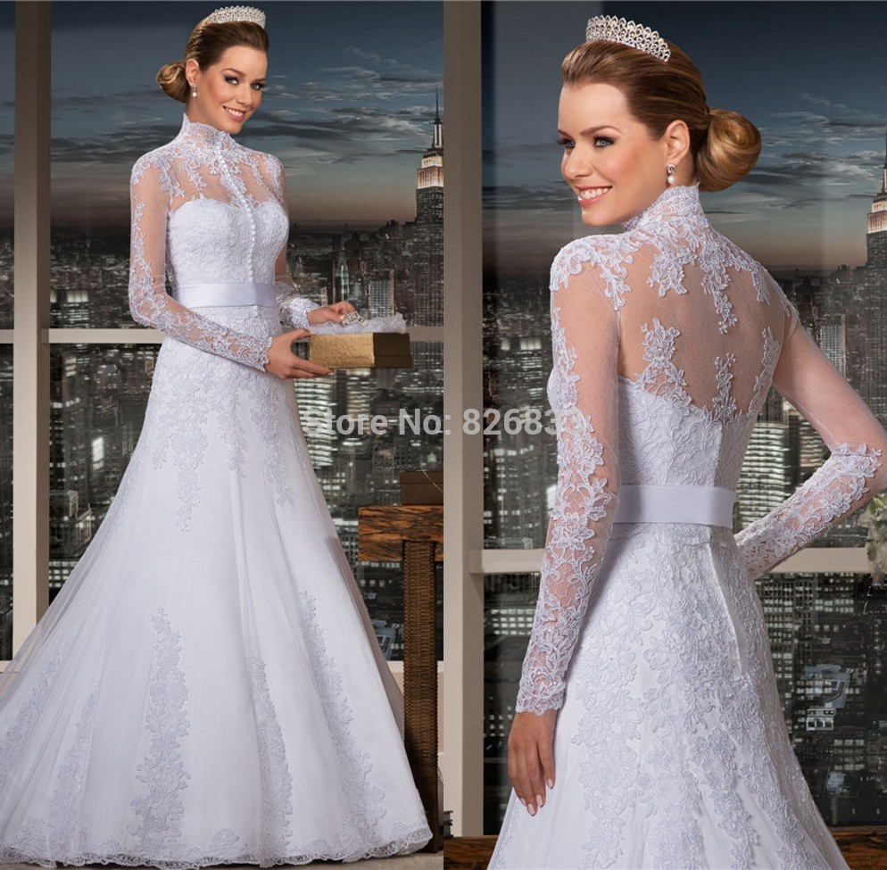 Trumpet Wedding Gowns With Sleeves: 2015 High Neck Wedding Dresses Long Sleeves Lace Trumpet