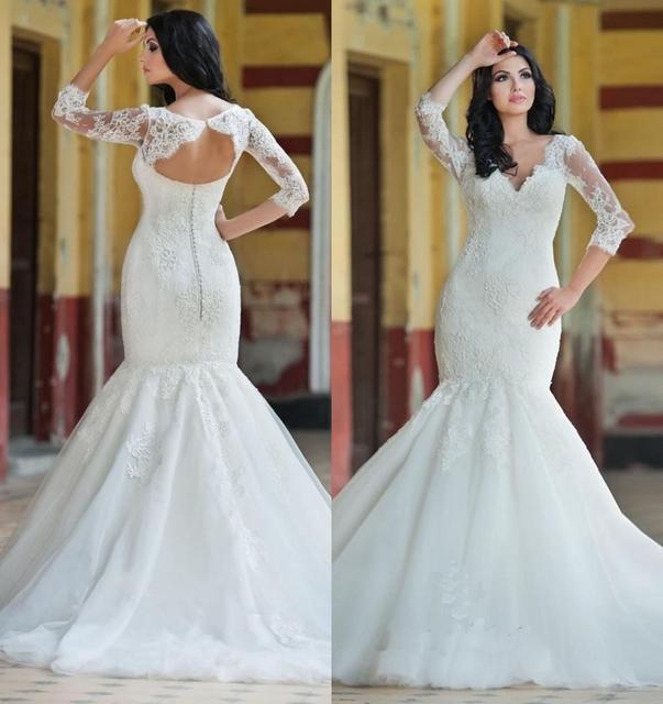Princess Vintage Lace Mermaid Style Wedding Dresses Tulle