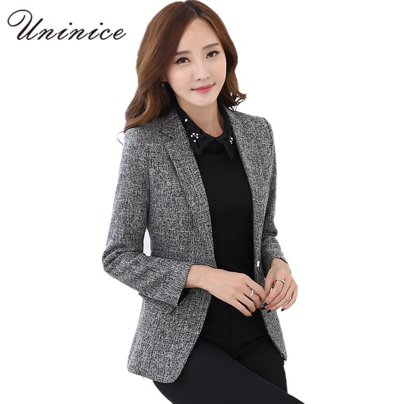 2810cb06e01 2017 Autumn Winter Jacket   Blazers Women Plus Size Gray Simple Women  Blazer Tops Korean OL Style Coat One Button Blazer Female