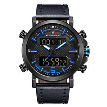 Часы NAVIFORCE мужские, спортивные, кожаные, водонепроницаемые, кварцевые, светодиодные, аналоговые, 2019(China)