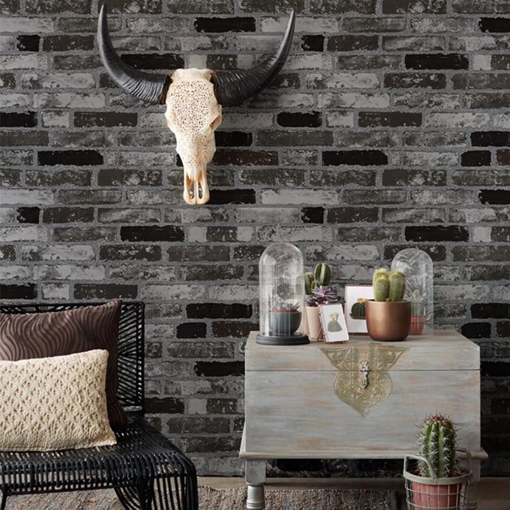White Faux Brick: HaokHome Modern Faux Brick Wallpaper Black/White 3D