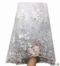 Горячая Распродажа, французский кружевной материал, чистый белый, нигерийская кружевная ткань, Высококачественная африканская фатиновая к...(Китай)
