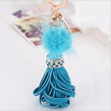 New fashion korea style crystal Rhinestone purse bag pendant Faux Fur PU leather Keychain tassel car