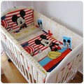 Promotion 6pcs mickey mouse Baby Cot Bedding Kit Baby Bed Around Bed Linen include bumpers sheet