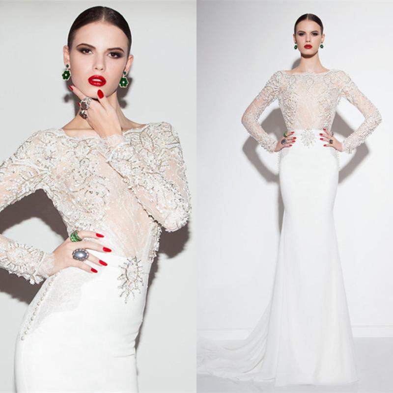 2015 New Elegant Full Long Sleeves Mermaid Wedding Dresses: Luxury Lace Beaded White Bridal Gown Wedding Dresses