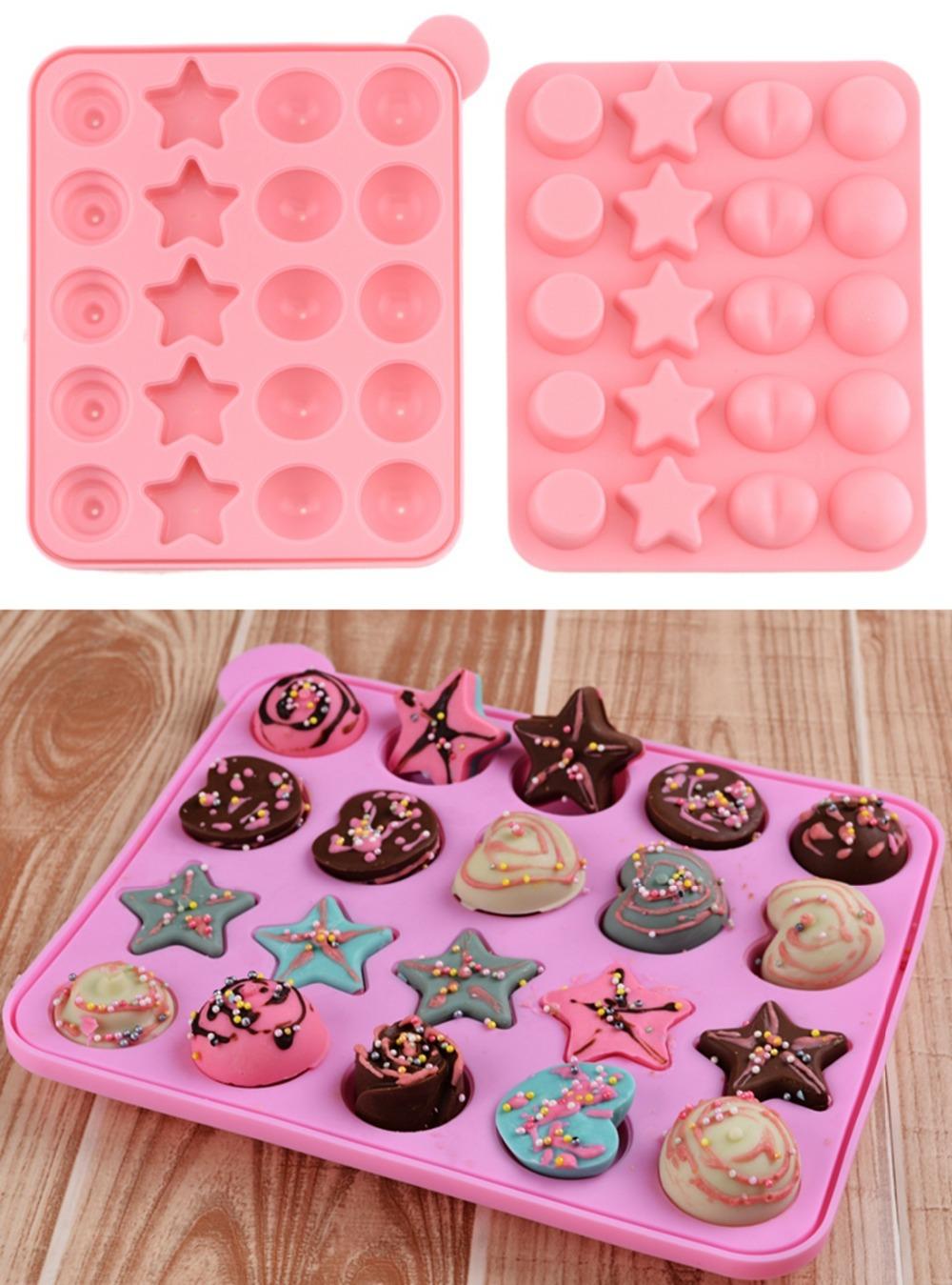 Торт печенья шоколада пресс силикагель леденец поп плесень плесень мульти стиль розовый 96422