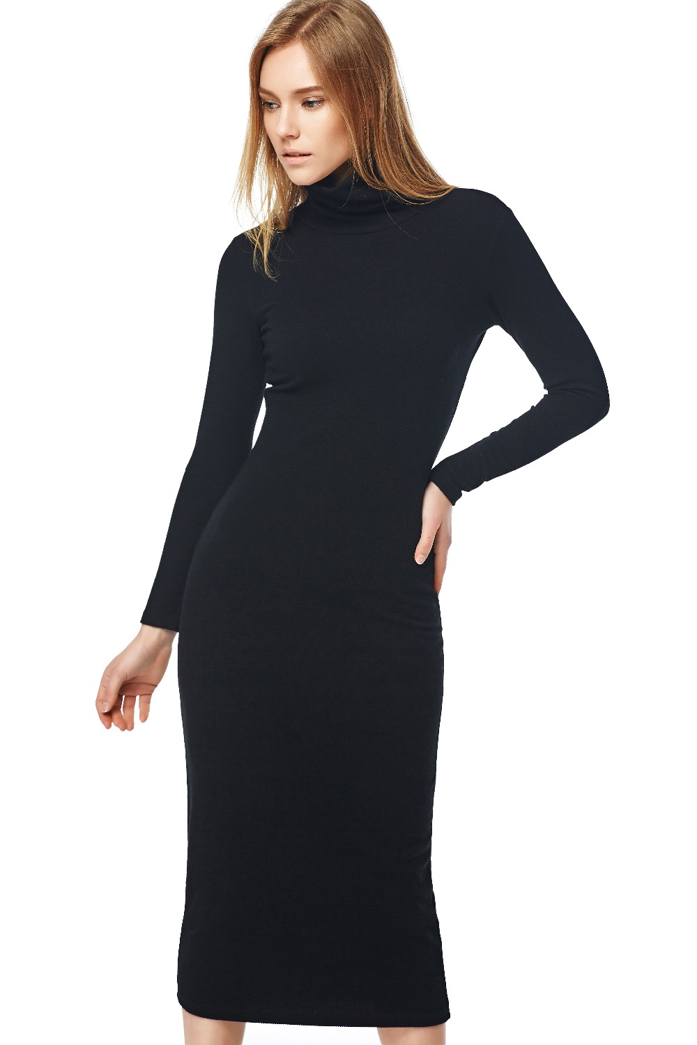Sunup or sundown, you'll stun in this sweater knit dress from Dennis Basso. With ribbing on the long sleeve cuffs and turtleneck, it fits you like a comfy sweater up top then flares from the waist for a relaxed, fluid look.3/5(4).
