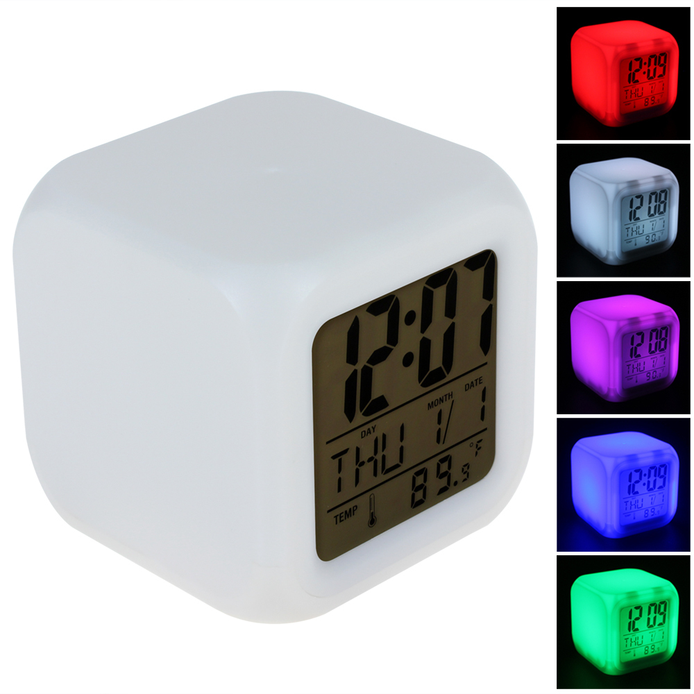 cube glowing led colors changing digital alarm clock. Black Bedroom Furniture Sets. Home Design Ideas