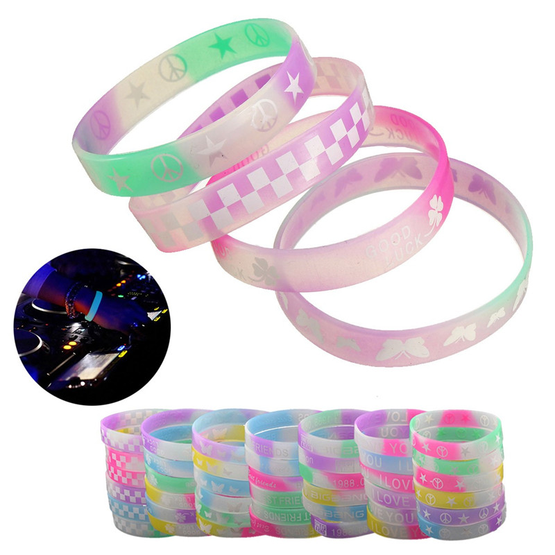 2019 Whole Brand New Glow In Dark Luminous Silicone Rubber Wristband Bracelet Bangle Color Pattern Multi Random From Beyane Price Dhgate Com