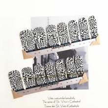 Black White Leopard Print Nail Art Sticker Patch 14 pcs set Waterproof Decals Foils Gel Polish