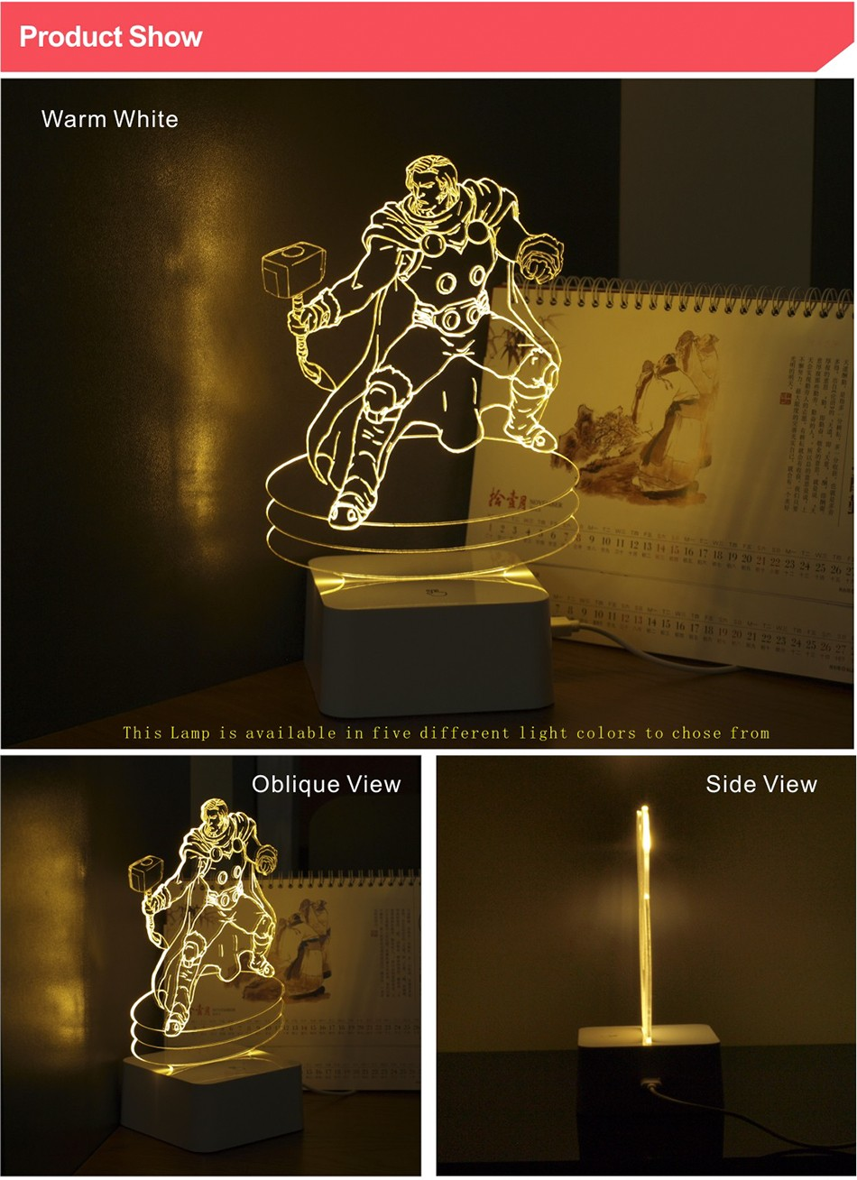 Christmas Xmas Holiday Gifts for Thor 3d Led Night Lights Touch Controller Table Lamps as Child Besides Lamp (2)