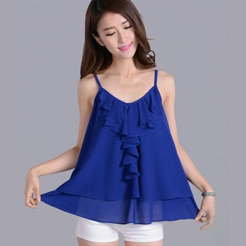 Женщины одежда 5XL 4xl, Женщины свободного покроя шифон рубашки и блузка, Colorful тонкая лямка жилет, Vestidos femininos