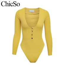 MissyChilli Yellow knitting sexy long sleeve bodysuit Women deep v neck  button fitness club Jumpsuits rompers 30b4a7962