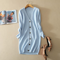 Women s 100 pure cashmere knitting long thick cardigan with V neck single breasted slim fitting