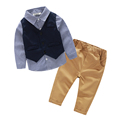 New Autumn 2016 Casual 3piece suit for boys clothes plaid shirt children s clothing long sleeved