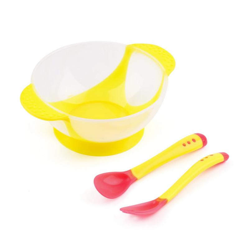 MK Toddler Kids Child Baby Feeding Set Lid Training Bowl with Spoon Binaural Tableware Slip-Resistant Sucker Bowl