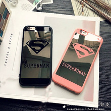 Superman Superwoman Mirror Surface TPU Case for iPhone 5 5S 6S 6 Plus