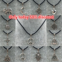 Hot Sale New 2015 European and American Long Simple Silver Cross Elephant Leather Necklace for Women and Men free shipping