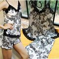 Sexy Women Faux Silk Pajamas Set Lace Floral Braded Nightgowns V Neck spaghetti strap Sleepwear Lingerie