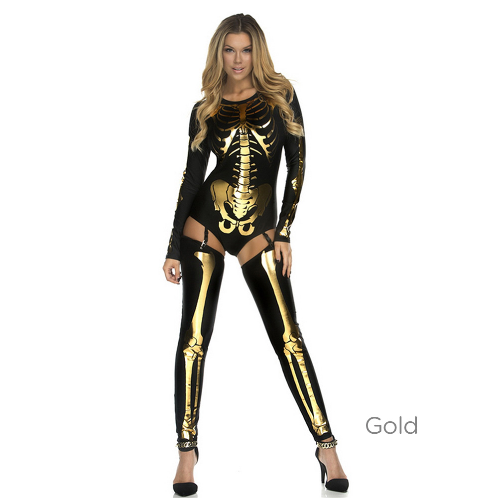 7f5639ca57ef Halloween Skeleton Costume For Women Skeleton Cosplay Clothes ...