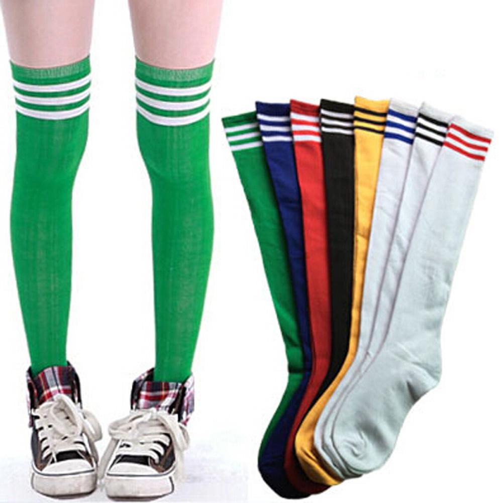 26f46944662 Thigh High Sock Over Knee Legging Stockings Girls Color Blocking Stripe