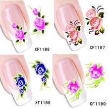 DIY art water transfer Nail Stickers beauty flowers for wedding decals for party decoracion unas reine