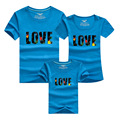 PSEEWE New arrival 2016 family matching clothes Mom Dad Baby Love Cotton T shirts Summer Family