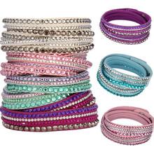 Hot Sale 2015  Korean Velvet Multi-layer Crystal Wrap Charm Bracelets Pulseras Mujer Leather Bracelets & bangles for Women