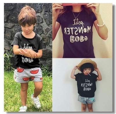Kikikids унисекс мальчик и девочки бобо письма серый футболки, родитель-ребенок соответствующий наряд футболки, летний стиль детская одежда