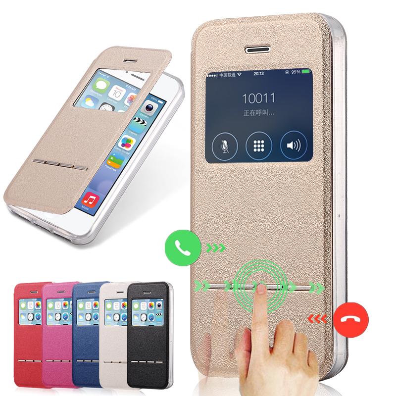 lowest price 4c5eb cd729 Luxury Front Window View Leather Case for iPhone 5 Phone Accessories Caso  Capa For Apple iPhone 5s Flip Stand Cover