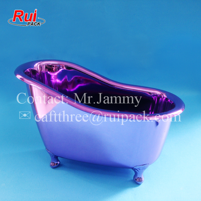 Glossy Metal Like Plastic Bath Tub Shape Container For