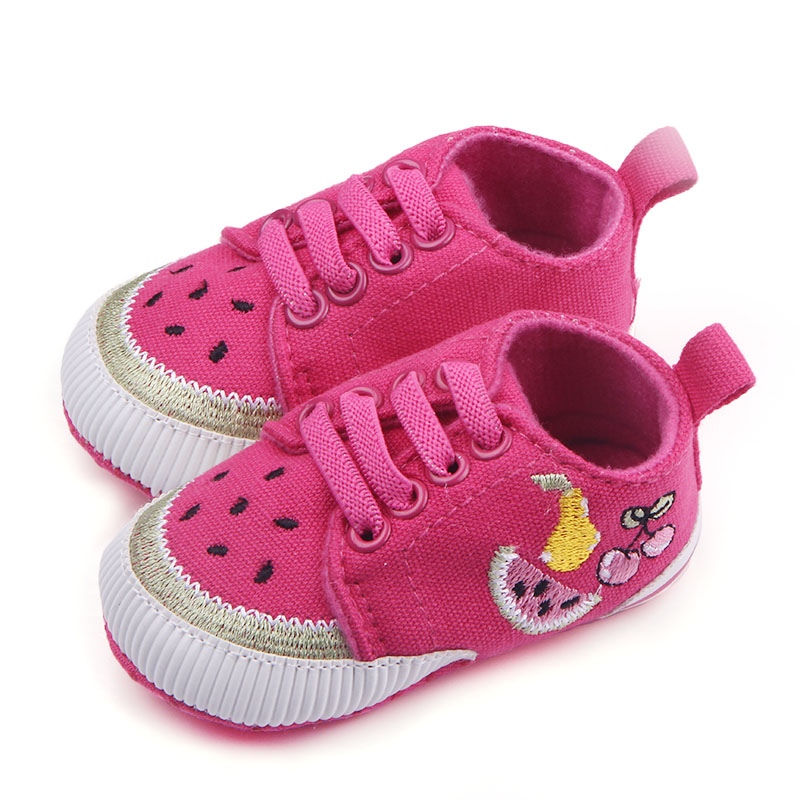 Fancy Baby Girl Canvas Shoes Knited Fruit Patterns Kids Sports Shoes Lace Up First Step Shoes