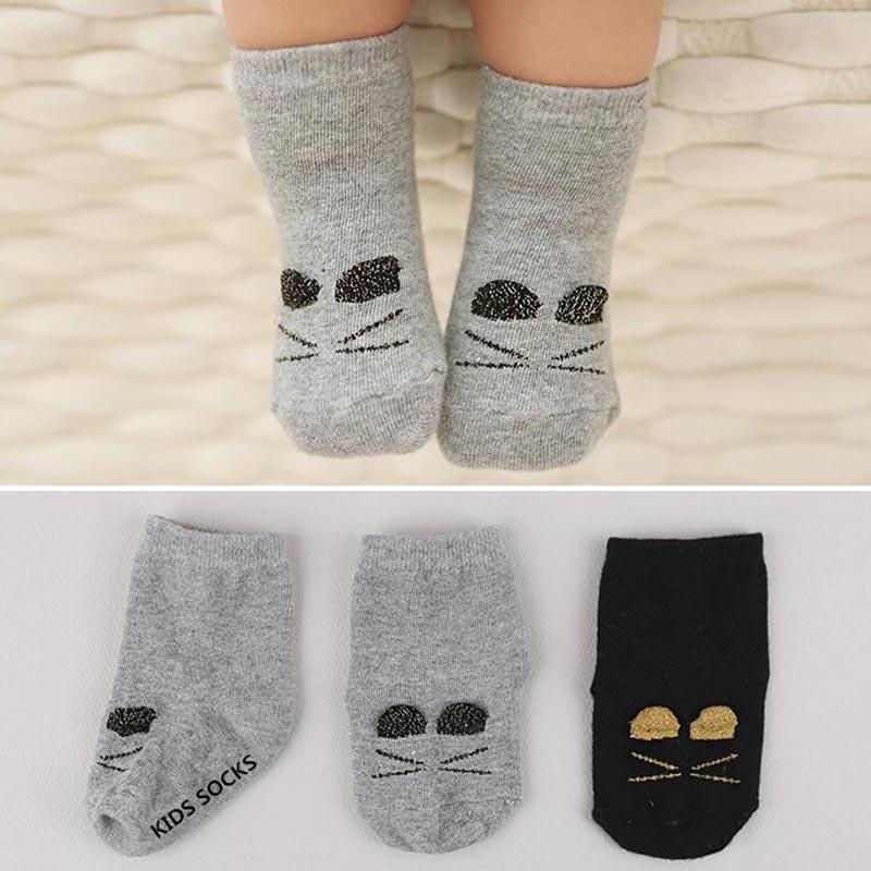 New Cartoon Cat Children Socks Cotton Girls Boys Calcetines Cute Ankle Baby Socks Black Grey for