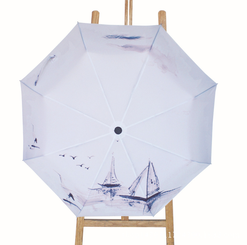 Горячий дизайн картина солнце дождь Китайский чернила Зонтик 3 Раза анти-УФ Оригинальный компактный Подарок складной лодке воды городов Ливни XM