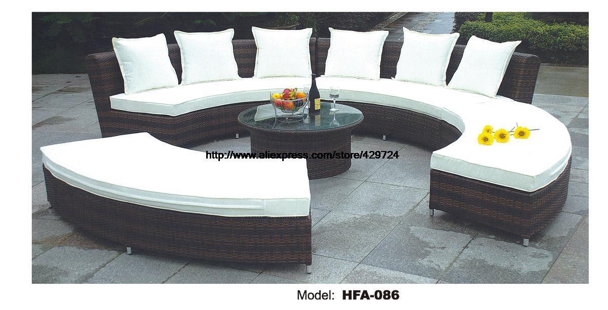 Circular Arc Sofa Half Round Furniture Healthy Pe Rattan