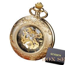 Роскошные Ретро золотые полые механические карманные часы с каркасом, мужские брелоки с цепочкой из стали, изысканная скульптура, женские и...(Китай)