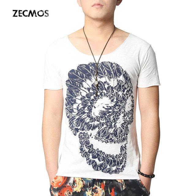 1d27d7784 Zecmos Hip Hop Skull Printed T Shirts Men Fashion Mens TShirts Short Sleeve  V Neck T