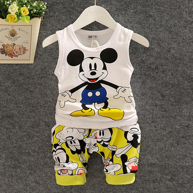 Baby set 2015 New Boy Clothing Set cottom Sleeveless Shirt + Shorts Kid Boy Summer sport Set Mickey suit Children Clothes Set