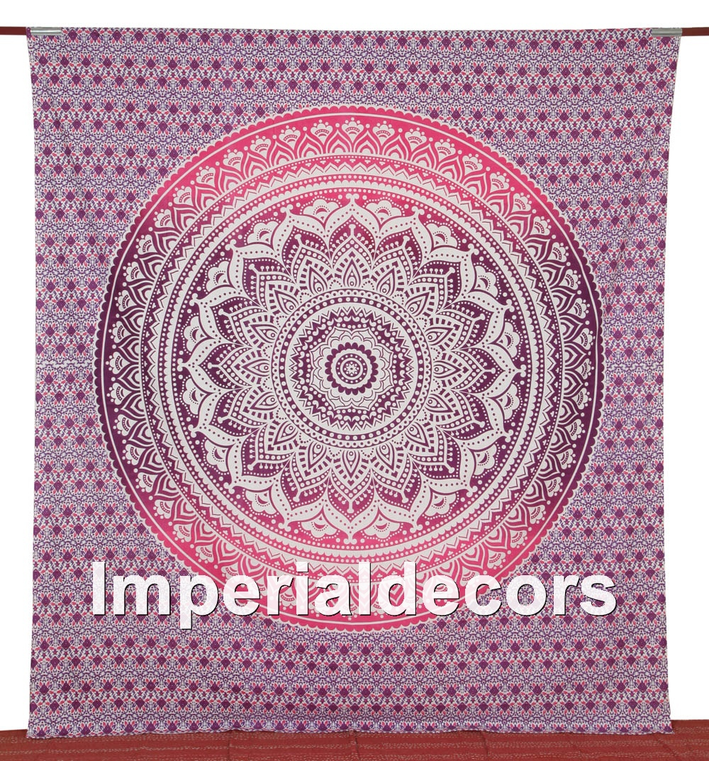 Bedsheet Indian Hippie Tapestry Pink, Mandala Florals, Kaleidoscopic Bedspread (QUEEN Size,100% Premium Quality) Home Decor.