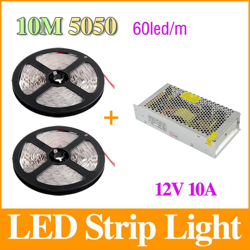 10m 5050 led strip 60leds m dc12v smd strips light 10a transformer led power driver white warm. Black Bedroom Furniture Sets. Home Design Ideas