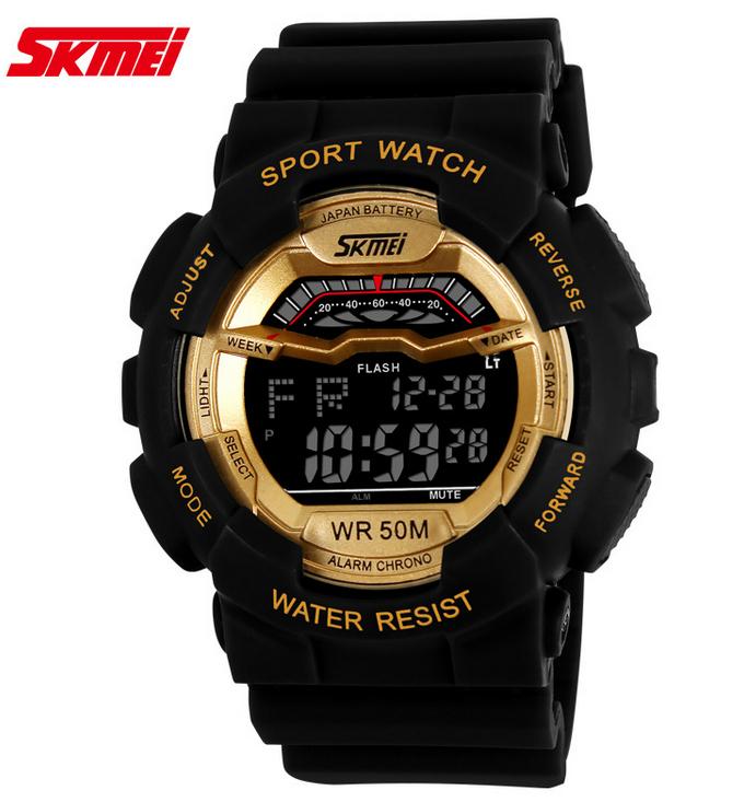 Оригинал SKMEI мужчины военные спортивные часы многофункциональный из светодиодов цифровые часы 50 м водонепроницаемый погружение плавать студенческие наручные часы
