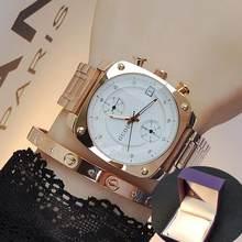 Женские и мужские часы Unsex, роскошные часы из стали и кожи цвета розового золота с календарем и квадратным циферблатом, водонепроницаемые ча...(Китай)