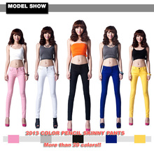 2016 Best Sales Women's Sexy Candy Solid Pencil Pants Slim Skinny Stretch Jeans Trousers Top Level Model 21 Colors 6 Sizes W099