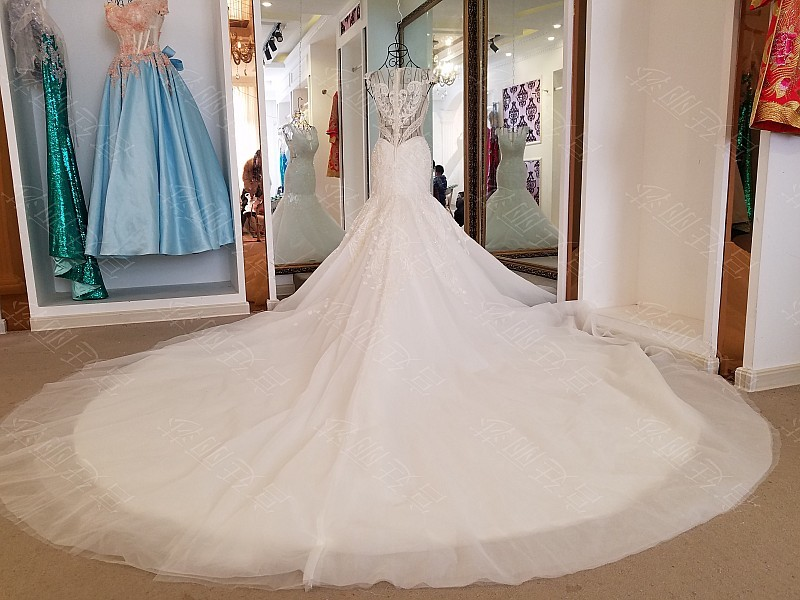 LS17006 Sexy mermaid wedding dress see through back cap sleeves tulle lace wedding gowns 2017 robe de mariee sirene 8