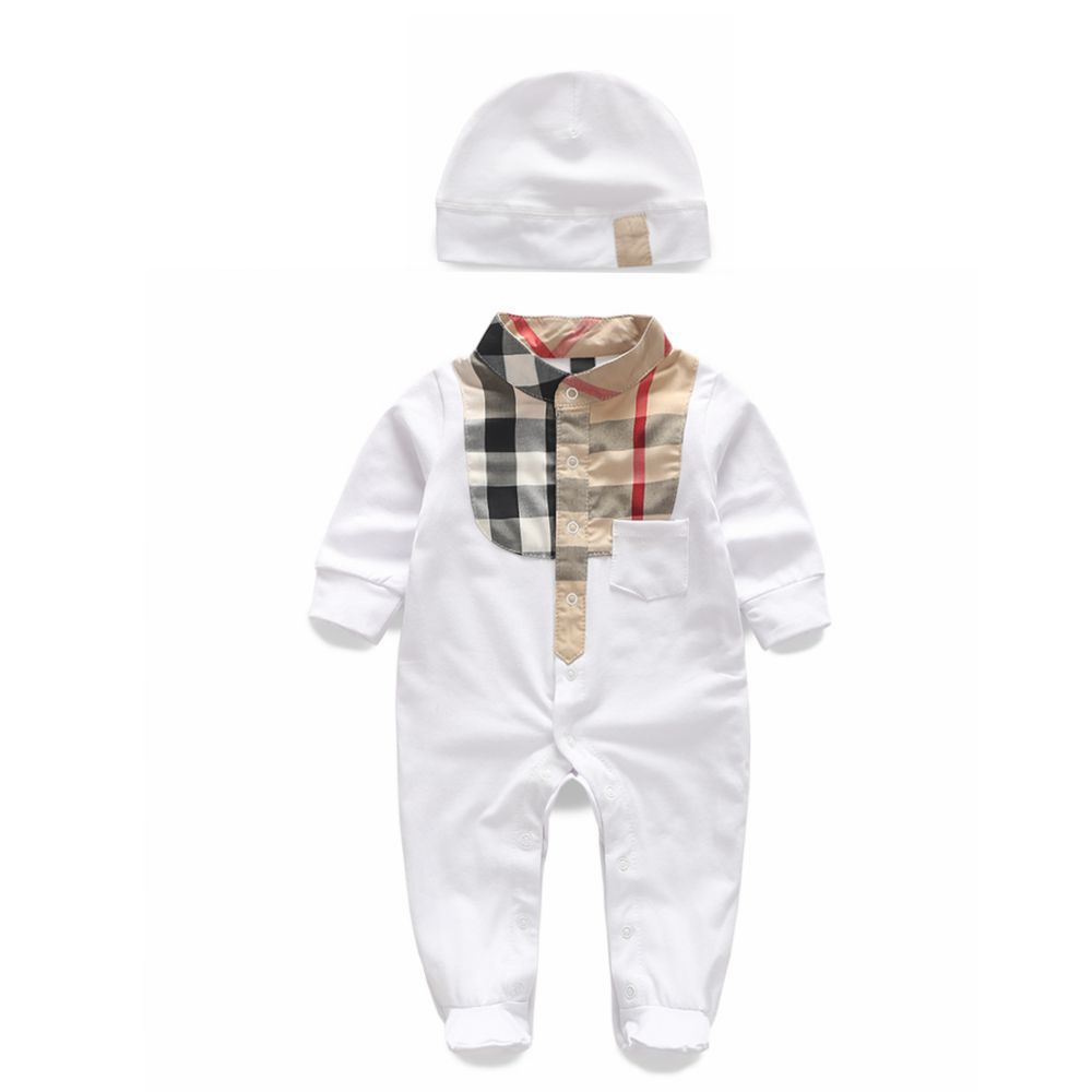 db12f60076475 Baby rompers long sleeve cotton baby infant plaid newborn baby clothes  romper+hat 2 pcs